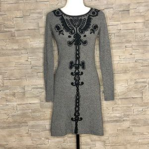 Nougat London grey sweater dress with embroidery